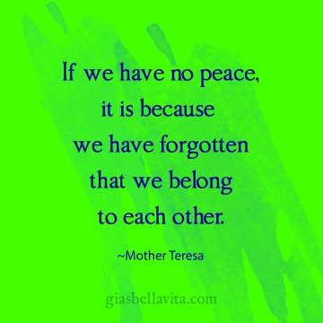 If we have no peace, it is because we have forgotten that we belong to each other. ~Mother Teresa