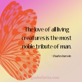 The love of all living creatures s the most noble tribute of man. ~ Charles Darwin