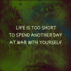 Life is too short to spend another day at war with yourself.